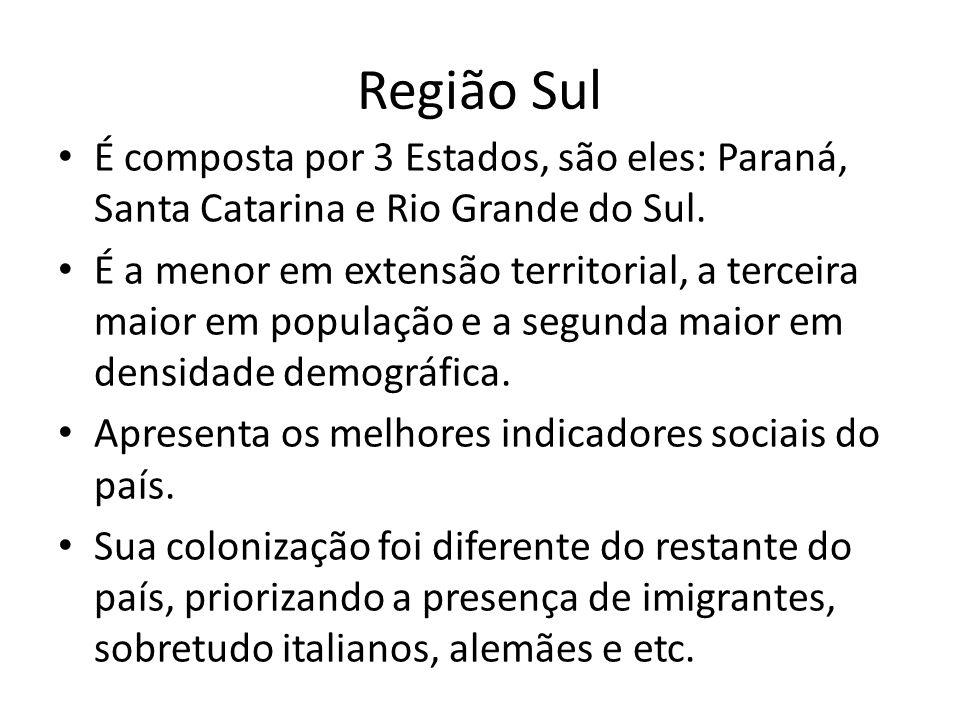 Região Sul É composta por 3 Estados, são eles: Paraná, Santa Catarina e Rio Grande do Sul. É a menor em extensão territorial, a terceira maior em popu
