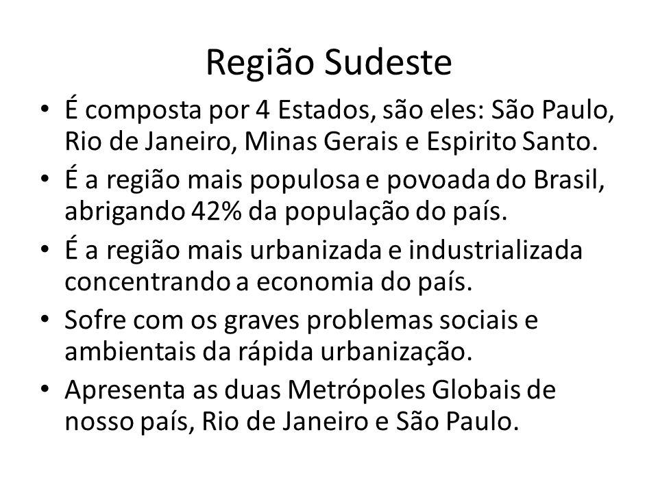 Região Sudeste É composta por 4 Estados, são eles: São Paulo, Rio de Janeiro, Minas Gerais e Espirito Santo. É a região mais populosa e povoada do Bra