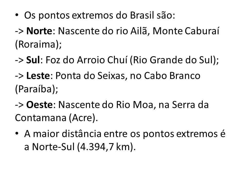Os pontos extremos do Brasil são: -> Norte: Nascente do rio Ailã, Monte Caburaí (Roraima); -> Sul: Foz do Arroio Chuí (Rio Grande do Sul); -> Leste: Ponta do Seixas, no Cabo Branco (Paraíba); -> Oeste: Nascente do Rio Moa, na Serra da Contamana (Acre).