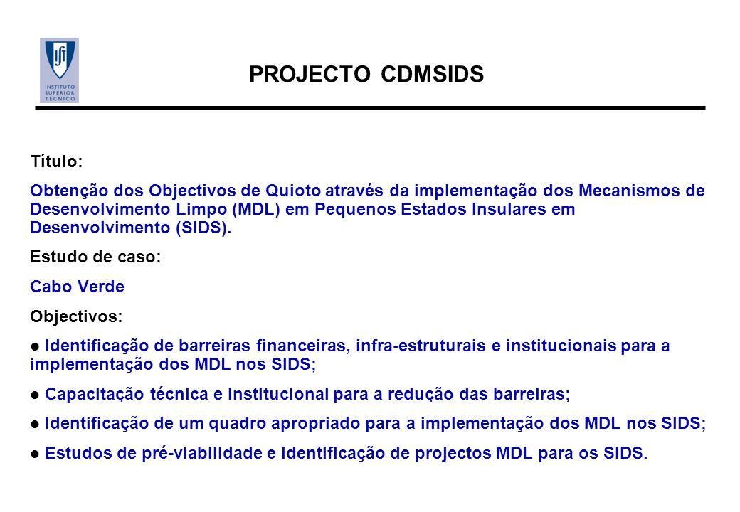 PROJECTO CDMSIDS Título: Obtenção dos Objectivos de Quioto através da implementação dos Mecanismos de Desenvolvimento Limpo (MDL) em Pequenos Estados Insulares em Desenvolvimento (SIDS).