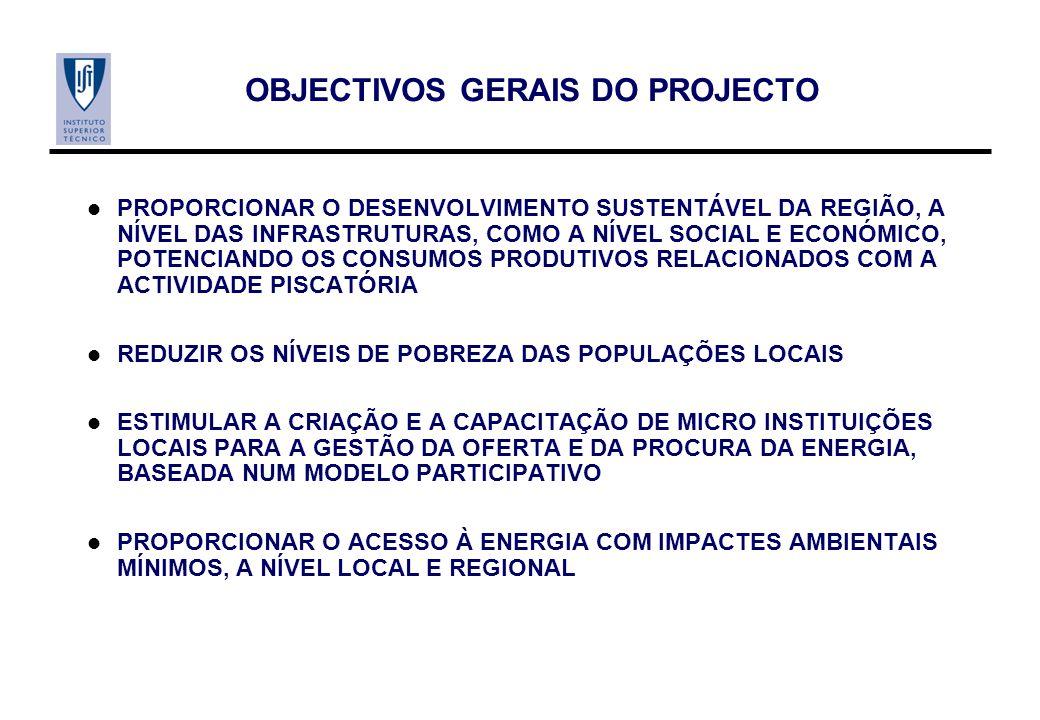 OBJECTIVOS GERAIS DO PROJECTO PROPORCIONAR O DESENVOLVIMENTO SUSTENTÁVEL DA REGIÃO, A NÍVEL DAS INFRASTRUTURAS, COMO A NÍVEL SOCIAL E ECONÓMICO, POTENCIANDO OS CONSUMOS PRODUTIVOS RELACIONADOS COM A ACTIVIDADE PISCATÓRIA REDUZIR OS NÍVEIS DE POBREZA DAS POPULAÇÕES LOCAIS ESTIMULAR A CRIAÇÃO E A CAPACITAÇÃO DE MICRO INSTITUIÇÕES LOCAIS PARA A GESTÃO DA OFERTA E DA PROCURA DA ENERGIA, BASEADA NUM MODELO PARTICIPATIVO PROPORCIONAR O ACESSO À ENERGIA COM IMPACTES AMBIENTAIS MÍNIMOS, A NÍVEL LOCAL E REGIONAL