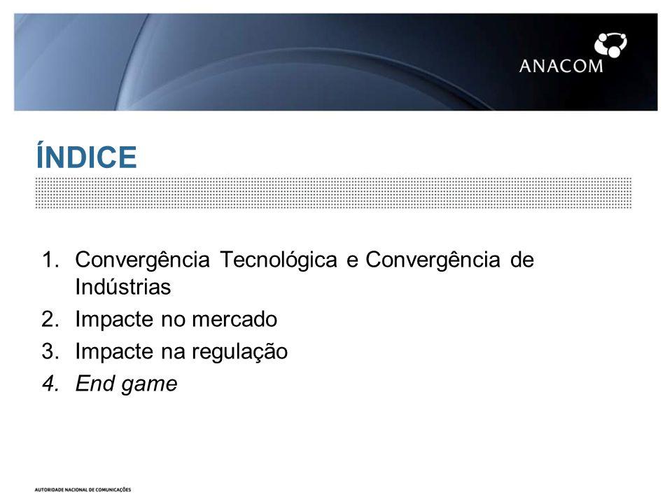 ÍNDICE 1.Convergência Tecnológica e Convergência de Indústrias 2.Impacte no mercado 3.Impacte na regulação 4.End game