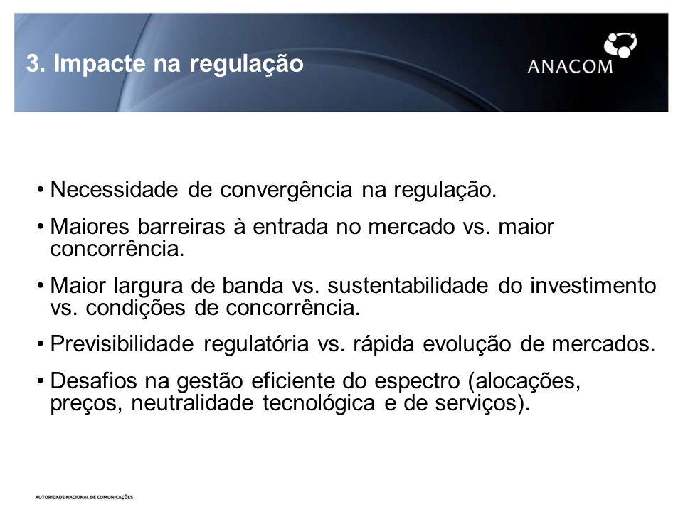 3. Impacte na regulação Necessidade de convergência na regulação.