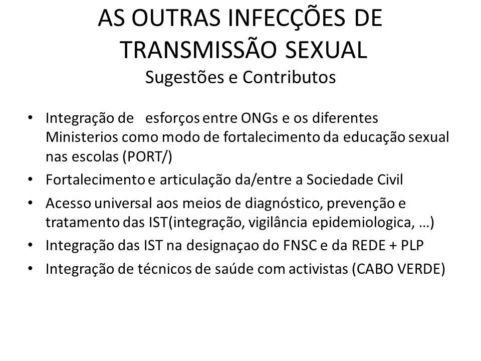 AS OUTRAS INFECÇÕES DE TRANSMISSÃO SEXUAL Sugestões e Contributos Promover a transversalidade e sustentabilidade das iniciativas atraves da promoção de Troca de Experiencias (MOÇ/PORT) Integração dos serviços de saúde ( planeamento familiar, saúde sexual e reprodutiva, diagnóstico/tratamento das IST) (ANG/MOÇ) Melhoria dos sistemas de monitorização (S.TOME E PRINCIPE) Acessibilidade dos meios de prevenção exemplo : Distribuição de preservativos no Comercio (BRASIL) Colocar na agenda politica a resposta às outras IST enquanto estratégia de redução do VIH (MOÇ/PORTUGAL)