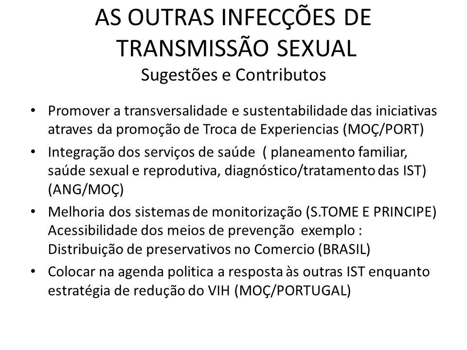 AS OUTRAS INFECÇÕES DE TRANSMISSÃO SEXUAL Sugestões e Contributos Promover a transversalidade e sustentabilidade das iniciativas atraves da promoção d