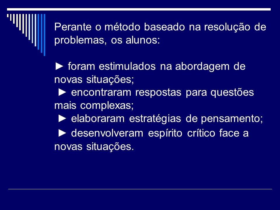 Perante o método baseado na resolução de problemas, os alunos: foram estimulados na abordagem de novas situações; encontraram respostas para questões
