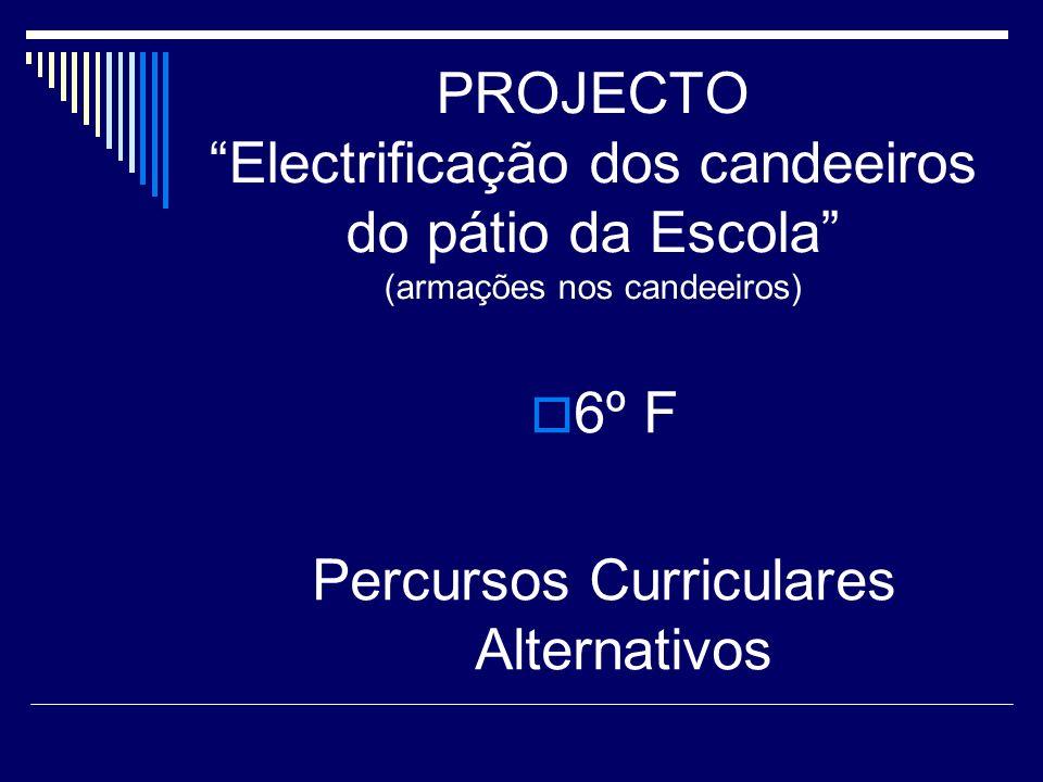 PROJECTO Electrificação dos candeeiros do pátio da Escola (armações nos candeeiros) 6º F Percursos Curriculares Alternativos