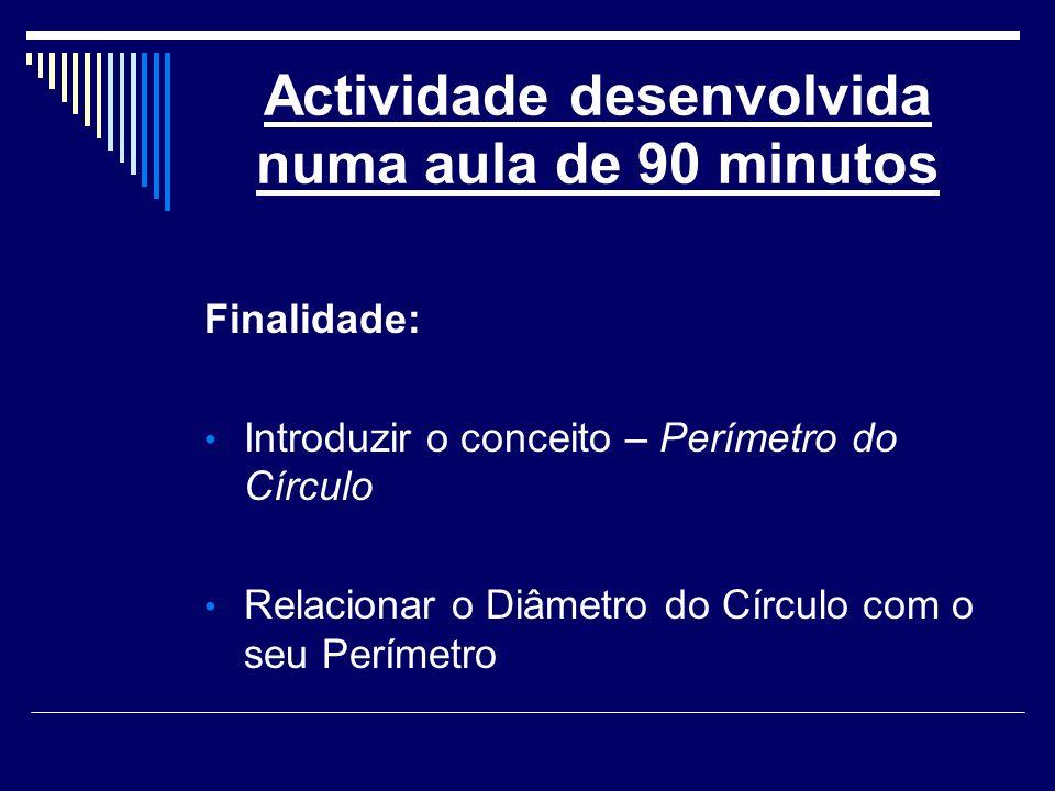 Actividade desenvolvida numa aula de 90 minutos Finalidade: Introduzir o conceito – Perímetro do Círculo Relacionar o Diâmetro do Círculo com o seu Pe