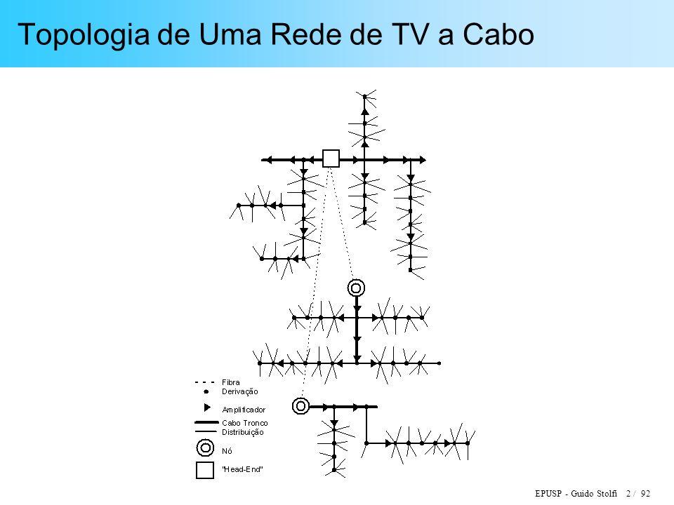 EPUSP - Guido Stolfi 3 / 92 Caracterização de uma Rede de TV a Cabo Cobertura: Quantidade de Domicílios Atendidos ( Home Passed ) Penetração: Número de Assinantes por Home Passed Sistema Híbrido Fibra / Coaxial (HFC): Número de Home Passed por Nó Capacidade: Número de canais diretos ( Downstream ) ; Banda Passante reversa ( Upstream ) Tecnologia de Acesso Condicional: Inversão de polaridade, Portadora interferente, Trap endereçavel, etc.