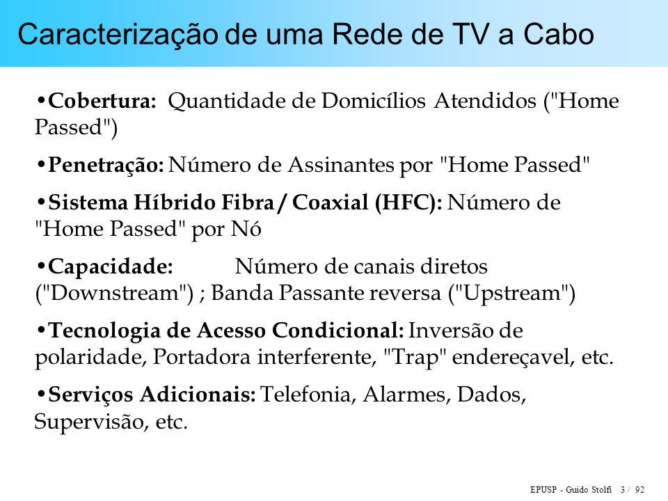 EPUSP - Guido Stolfi 3 / 92 Caracterização de uma Rede de TV a Cabo Cobertura: Quantidade de Domicílios Atendidos (