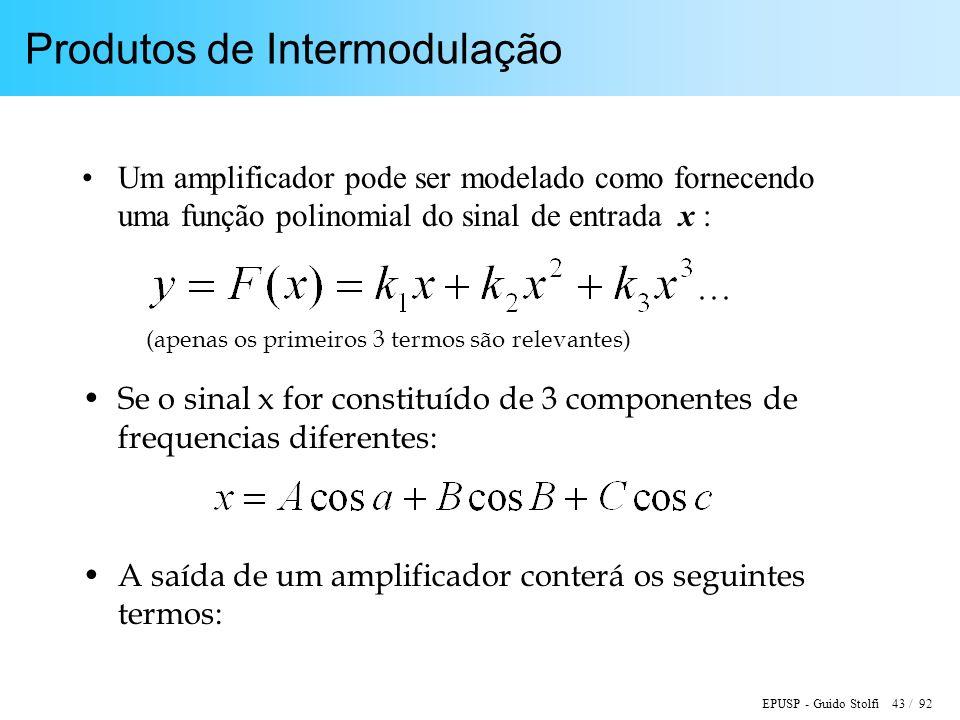 EPUSP - Guido Stolfi 43 / 92 Produtos de Intermodulação Um amplificador pode ser modelado como fornecendo uma função polinomial do sinal de entrada x : Se o sinal x for constituído de 3 componentes de frequencias diferentes: A saída de um amplificador conterá os seguintes termos: (apenas os primeiros 3 termos são relevantes)