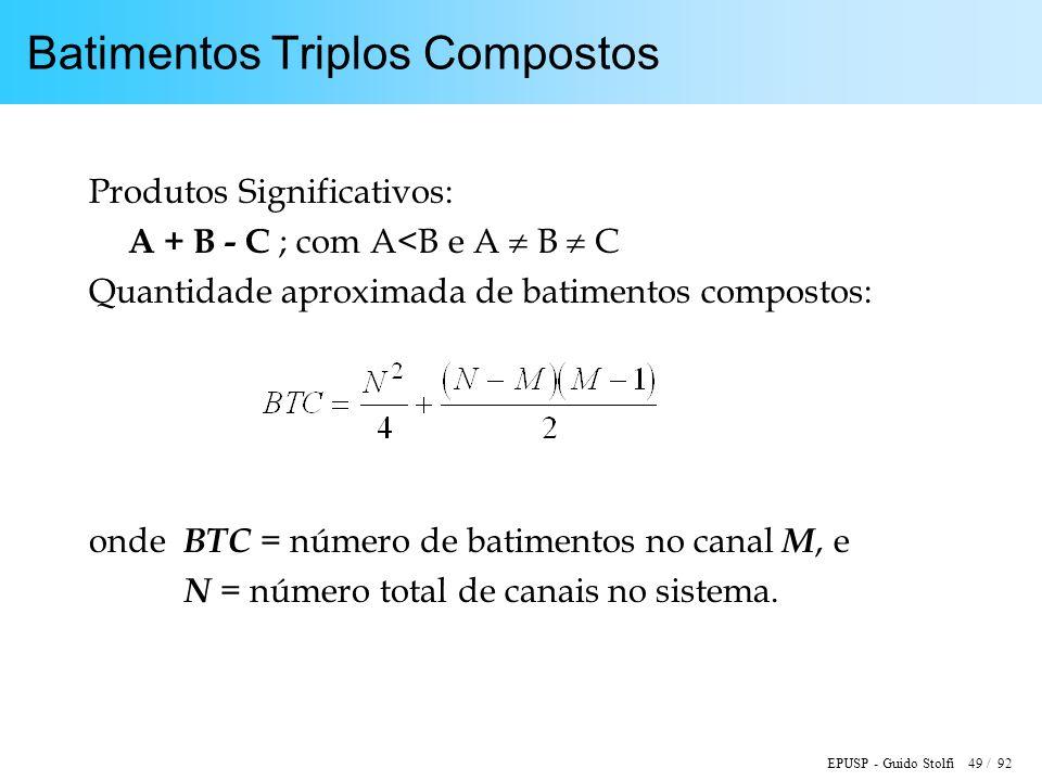 EPUSP - Guido Stolfi 49 / 92 Batimentos Triplos Compostos Produtos Significativos: A + B - C ; com A<B e A B C Quantidade aproximada de batimentos com
