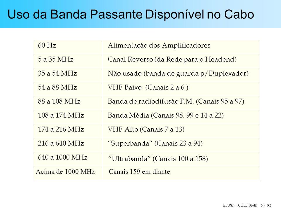 EPUSP - Guido Stolfi 76 / 92 DOCSIS ( Data Over Cable Service Interface Specification ) Comunicação Upstream: –Freqüências;5 a 42 MHz –Protocolo: TDMA, mensagens de comprimento fixo ou variável Modulação QPSK upstream: –Taxas de Símbolos: 160, 320, 640, 1280, 2560 ks/s –Taxas de Bits:320 a 5120 kb/s –Ocupação espectral: 200, 400, 800, 1600, 3200 kHz Modulação 16-QAM upstream: –Taxas de Símbolos: 160, 320, 640, 1280, 2560 ks/s –Taxas de Bits:640 kb/s a 10,24 Mb/s –Ocupação espectral: 200, 400, 800, 1600, 3200 kHz