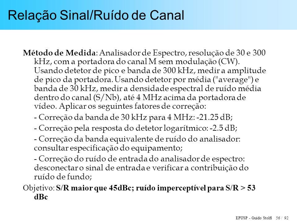 EPUSP - Guido Stolfi 56 / 92 Relação Sinal/Ruído de Canal Método de Medida : Analisador de Espectro, resolução de 30 e 300 kHz, com a portadora do canal M sem modulação (CW).