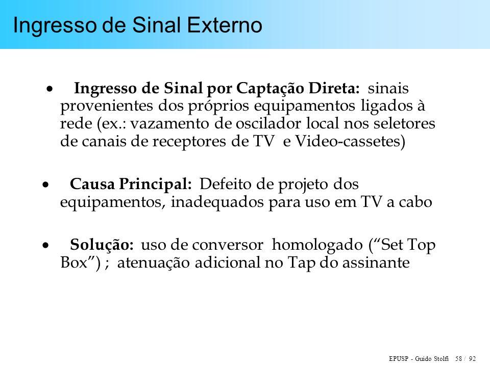 EPUSP - Guido Stolfi 58 / 92 Ingresso de Sinal Externo Ingresso de Sinal por Captação Direta: sinais provenientes dos próprios equipamentos ligados à
