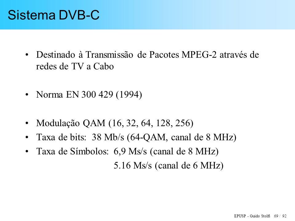 EPUSP - Guido Stolfi 69 / 92 Sistema DVB-C Destinado à Transmissão de Pacotes MPEG-2 através de redes de TV a Cabo Norma EN 300 429 (1994) Modulação QAM (16, 32, 64, 128, 256) Taxa de bits: 38 Mb/s (64-QAM, canal de 8 MHz) Taxa de Símbolos: 6,9 Ms/s (canal de 8 MHz) 5.16 Ms/s (canal de 6 MHz)