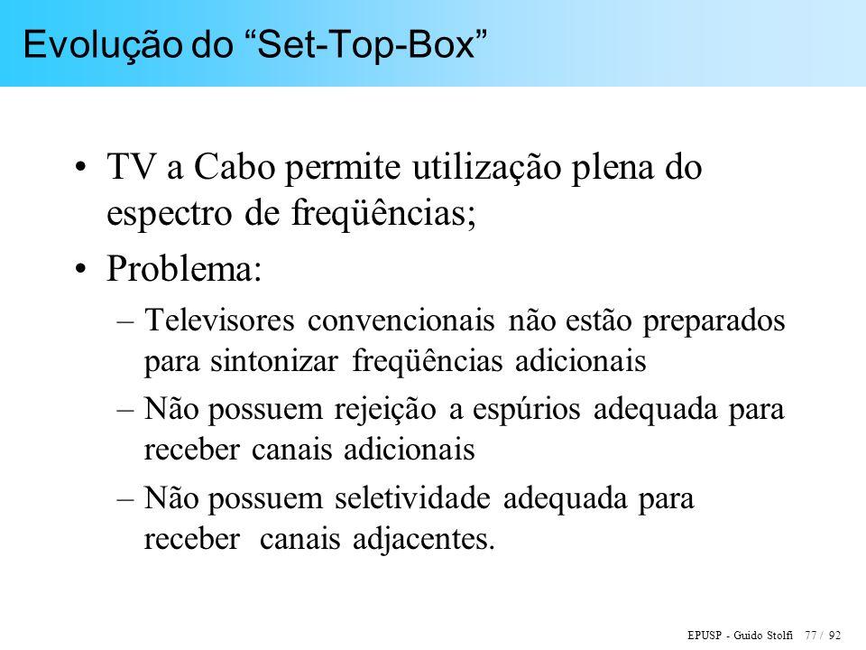 EPUSP - Guido Stolfi 77 / 92 Evolução do Set-Top-Box TV a Cabo permite utilização plena do espectro de freqüências; Problema: –Televisores convencionais não estão preparados para sintonizar freqüências adicionais –Não possuem rejeição a espúrios adequada para receber canais adicionais –Não possuem seletividade adequada para receber canais adjacentes.