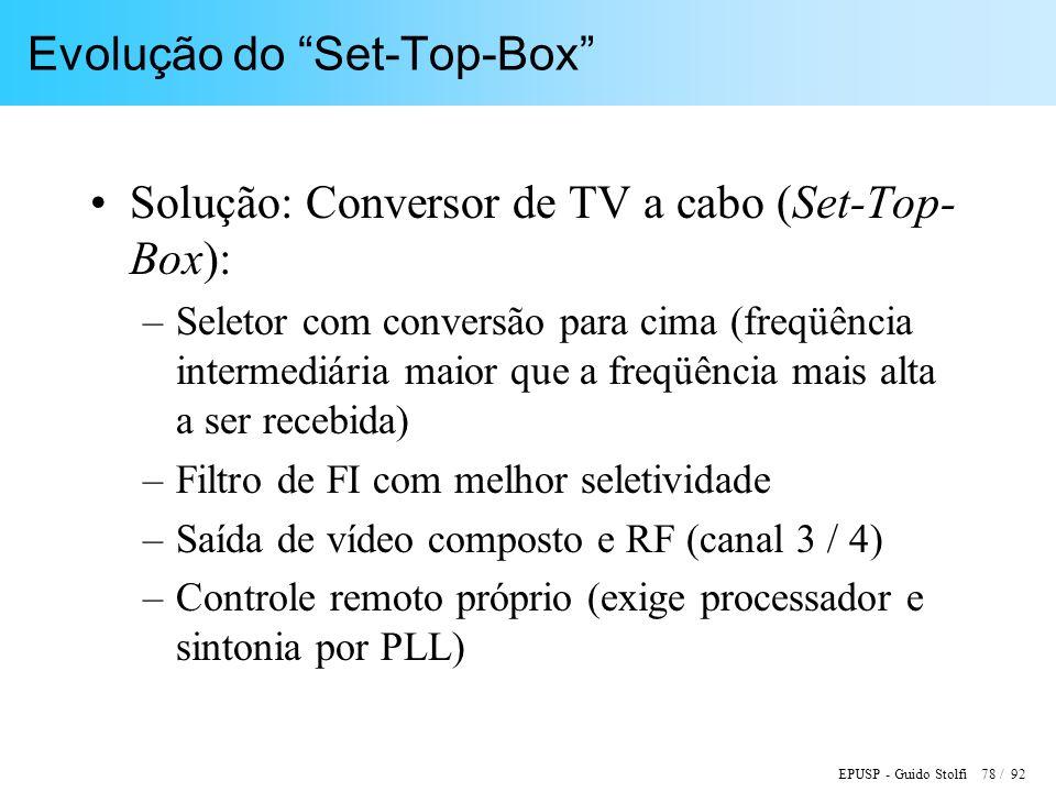 EPUSP - Guido Stolfi 78 / 92 Evolução do Set-Top-Box Solução: Conversor de TV a cabo (Set-Top- Box): –Seletor com conversão para cima (freqüência intermediária maior que a freqüência mais alta a ser recebida) –Filtro de FI com melhor seletividade –Saída de vídeo composto e RF (canal 3 / 4) –Controle remoto próprio (exige processador e sintonia por PLL)