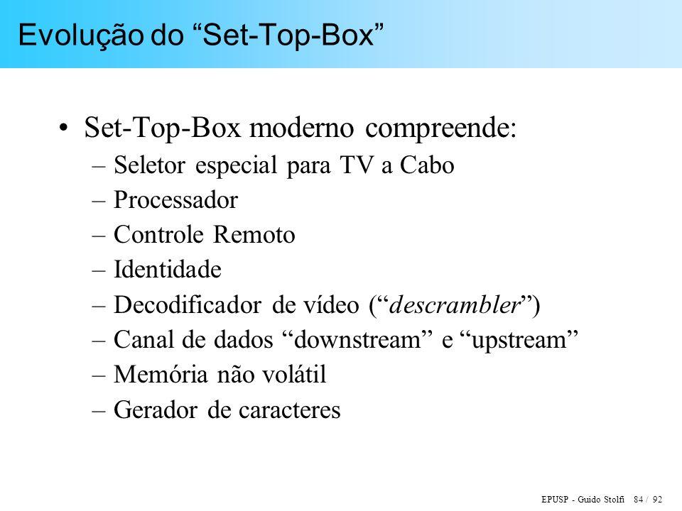 EPUSP - Guido Stolfi 84 / 92 Evolução do Set-Top-Box Set-Top-Box moderno compreende: –Seletor especial para TV a Cabo –Processador –Controle Remoto –Identidade –Decodificador de vídeo (descrambler) –Canal de dados downstream e upstream –Memória não volátil –Gerador de caracteres