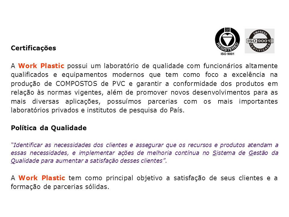 Certificações A Work Plastic possui um laboratório de qualidade com funcionários altamente qualificados e equipamentos modernos que tem como foco a ex