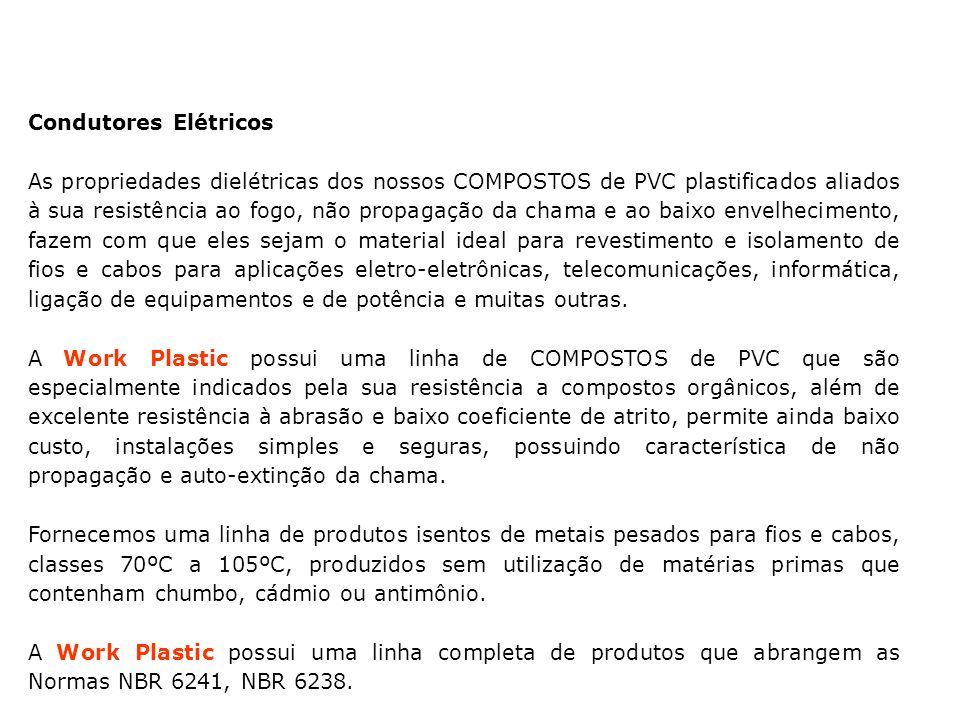 Condutores Elétricos As propriedades dielétricas dos nossos COMPOSTOS de PVC plastificados aliados à sua resistência ao fogo, não propagação da chama