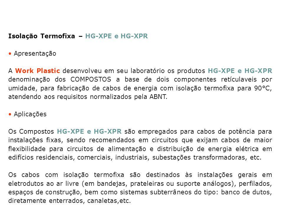 Isolação Termofixa – HG-XPE e HG-XPR Apresentação A Work Plastic desenvolveu em seu laboratório os produtos HG-XPE e HG-XPR denominação dos COMPOSTOS