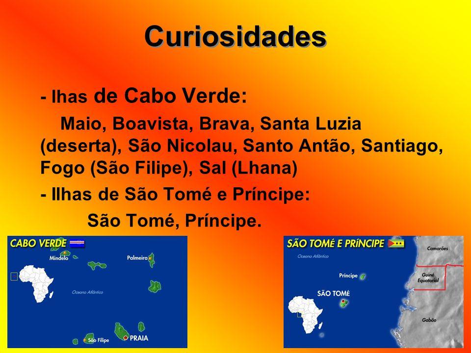 - lhas de Cabo Verde: Maio, Boavista, Brava, Santa Luzia (deserta), São Nicolau, Santo Antão, Santiago, Fogo (São Filipe), Sal (Lhana) - Ilhas de São