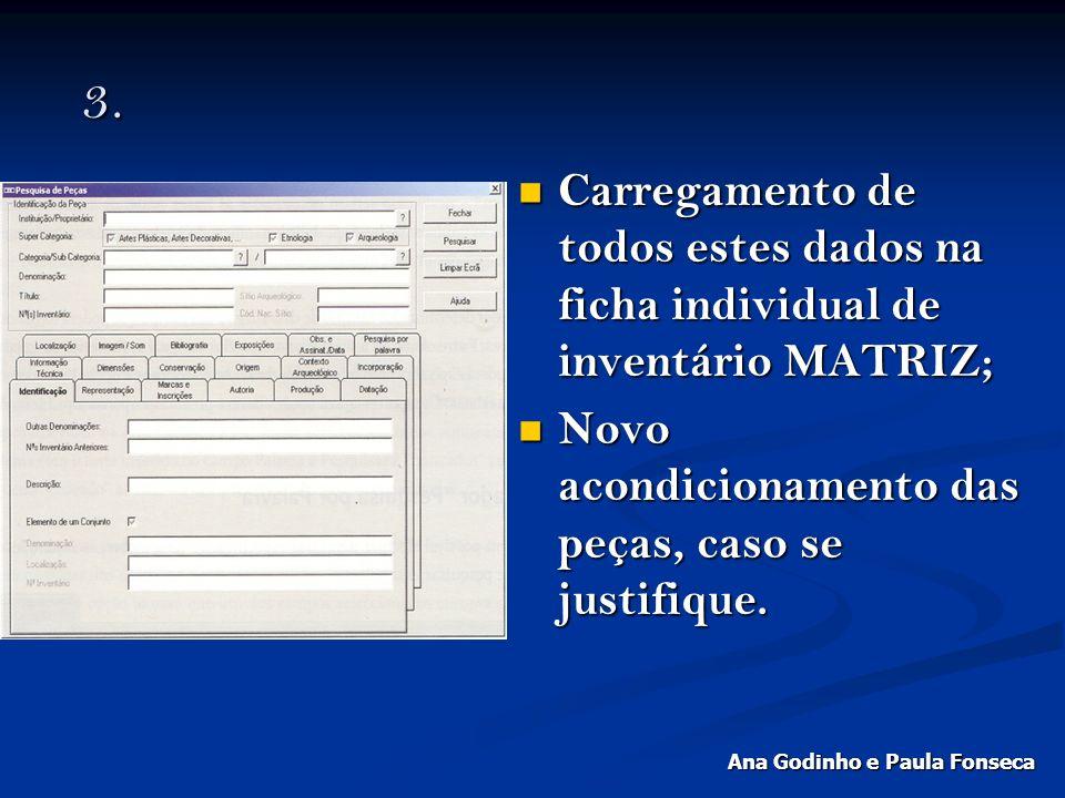 3. 3. Carregamento de todos estes dados na ficha individual de inventário MATRIZ; Carregamento de todos estes dados na ficha individual de inventário