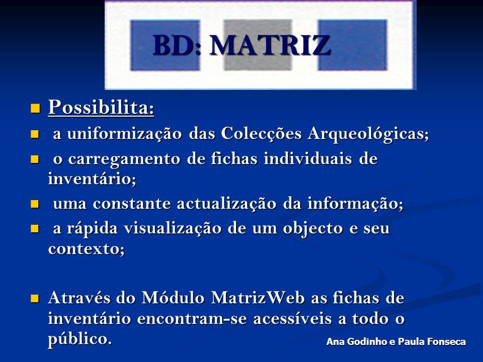 BD: MATRIZ Possibilita: Possibilita: a uniformização das Colecções Arqueológicas; a uniformização das Colecções Arqueológicas; o carregamento de ficha
