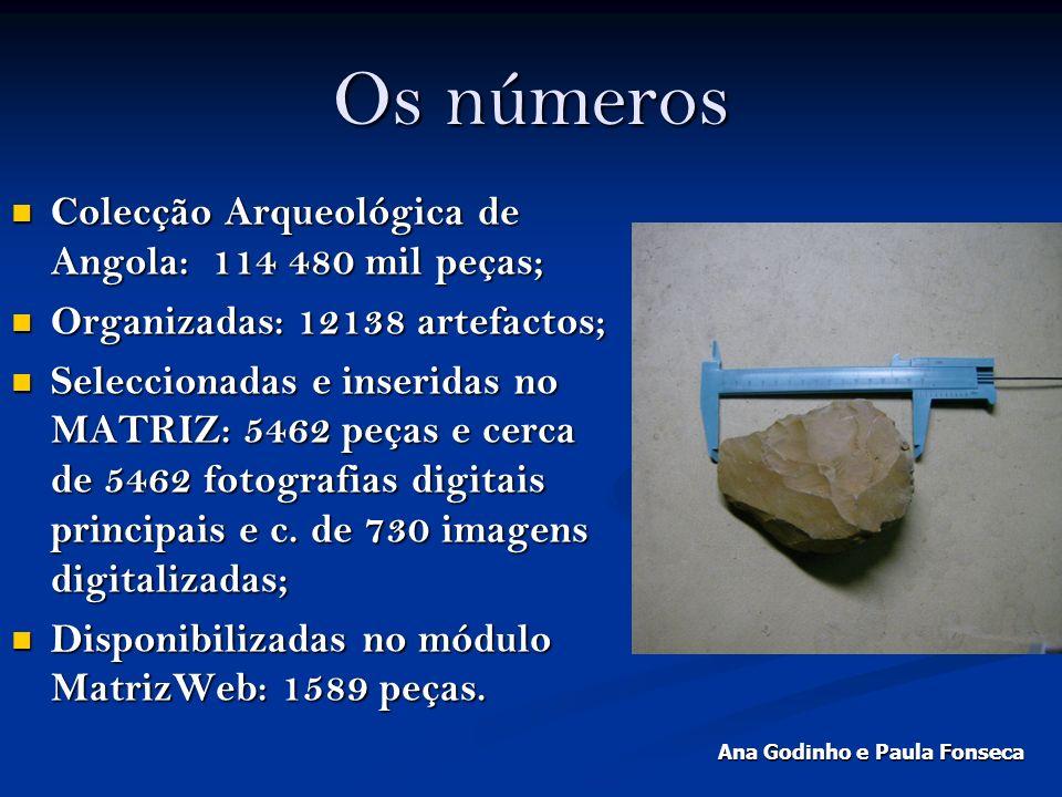 Os números Colecção Arqueológica de Angola: 114 480 mil peças; Colecção Arqueológica de Angola: 114 480 mil peças; Organizadas: 12138 artefactos; Orga