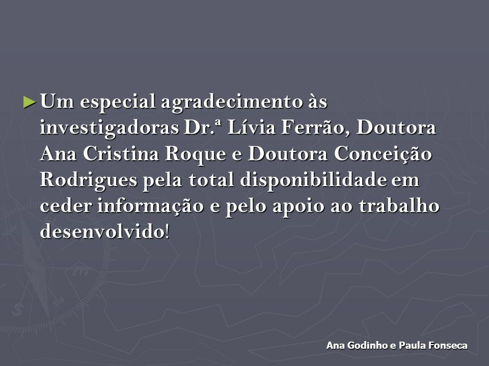 Um especial agradecimento às investigadoras Dr.ª Lívia Ferrão, Doutora Ana Cristina Roque e Doutora Conceição Rodrigues pela total disponibilidade em