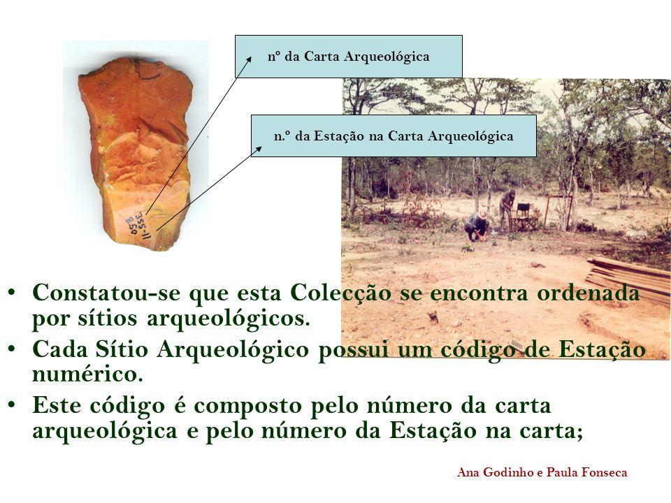 Constatou-se que esta Colecção se encontra ordenada por sítios arqueológicos. Cada Sítio Arqueológico possui um código de Estação numérico. Este códig