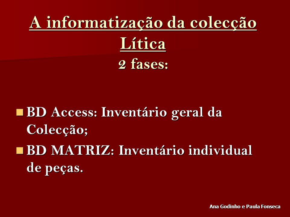 A informatização da colecção Lítica 2 fases: BD Access: Inventário geral da Colecção; BD Access: Inventário geral da Colecção; BD MATRIZ: Inventário i
