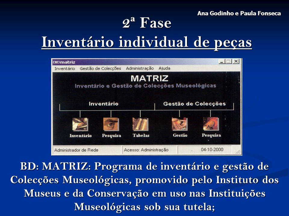 2ª Fase Inventário individual de peças BD: MATRIZ: Programa de inventário e gestão de Colecções Museológicas, promovido pelo Instituto dos Museus e da