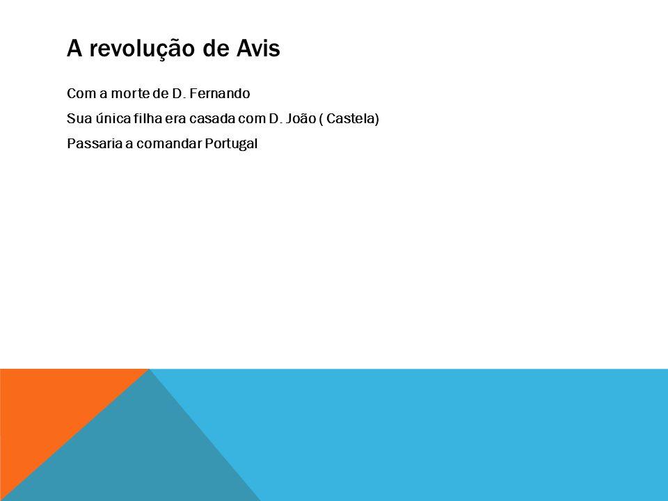 A revolução de Avis Com a morte de D.Fernando Sua única filha era casada com D.