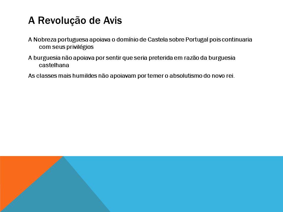 A Revolução de Avis A Nobreza portuguesa apoiava o domínio de Castela sobre Portugal pois continuaria com seus privilégios A burguesia não apoiava por