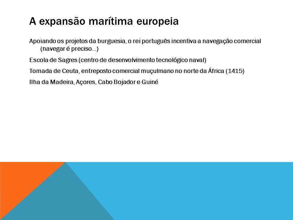A expansão marítima europeia Apoiando os projetos da burguesia, o rei português incentiva a navegação comercial (navegar é preciso...) Escola de Sagre
