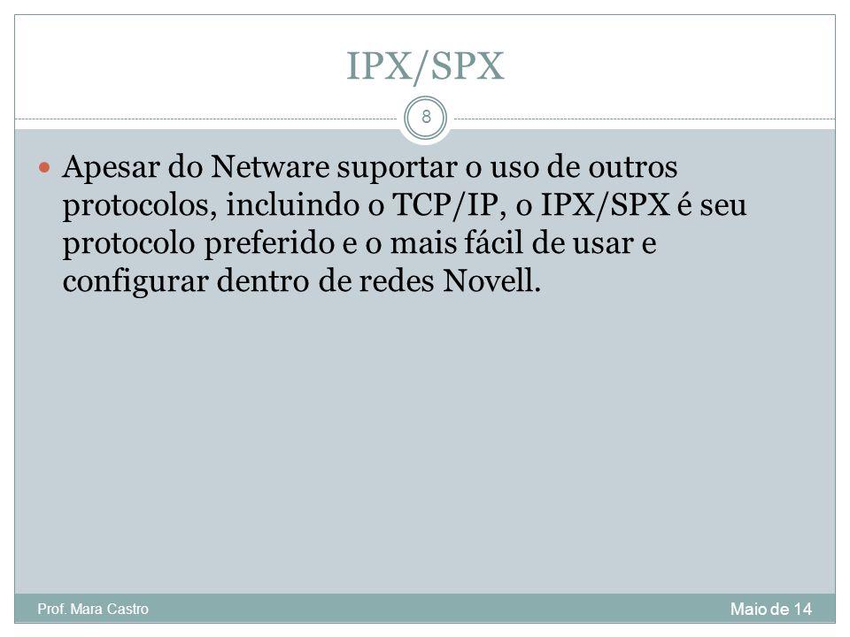IPX/SPX Apesar do Netware suportar o uso de outros protocolos, incluindo o TCP/IP, o IPX/SPX é seu protocolo preferido e o mais fácil de usar e config