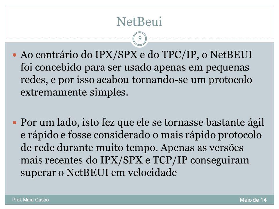 NetBeui Ao contrário do IPX/SPX e do TPC/IP, o NetBEUI foi concebido para ser usado apenas em pequenas redes, e por isso acabou tornando-se um protoco