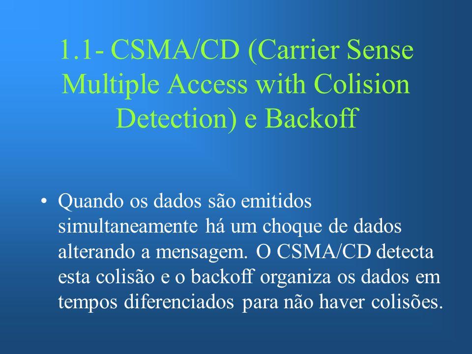 1.1- CSMA/CD (Carrier Sense Multiple Access with Colision Detection) e Backoff Quando os dados são emitidos simultaneamente há um choque de dados alterando a mensagem.