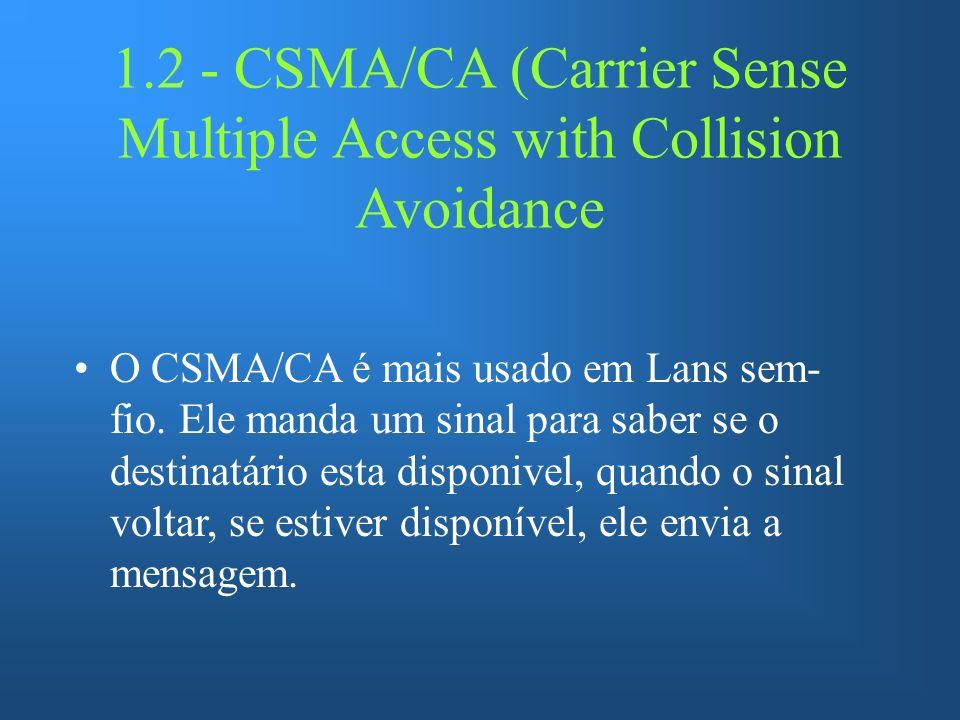 1.2 - CSMA/CA (Carrier Sense Multiple Access with Collision Avoidance O CSMA/CA é mais usado em Lans sem- fio. Ele manda um sinal para saber se o dest