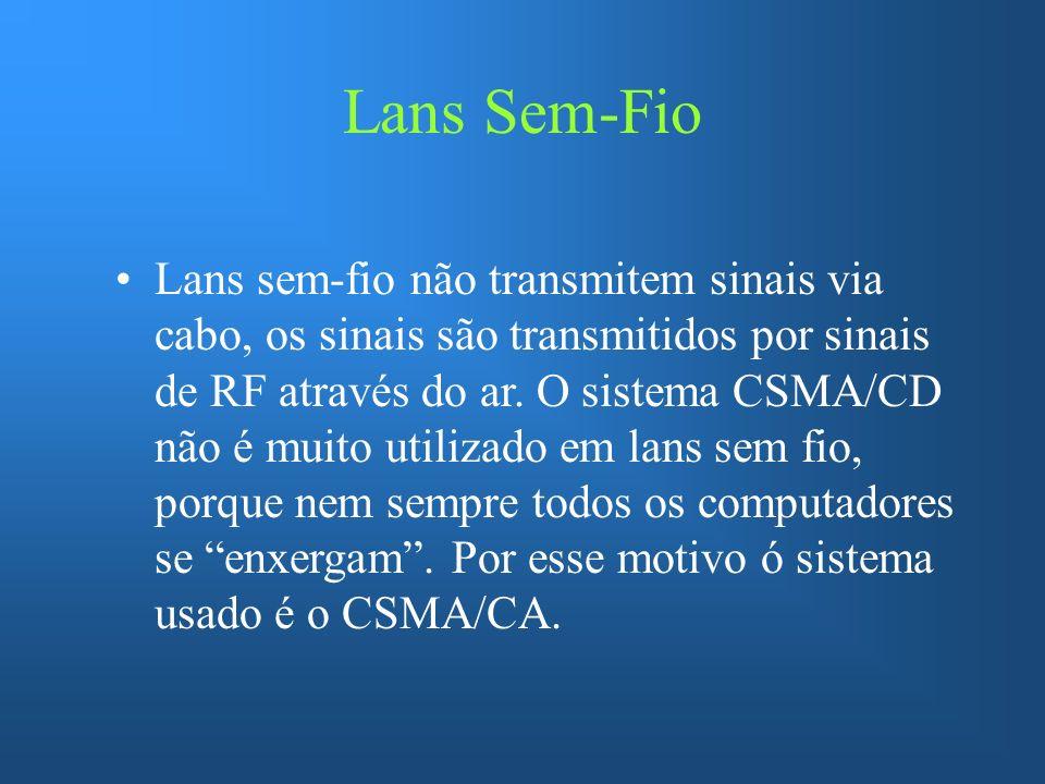 Lans Sem-Fio Lans sem-fio não transmitem sinais via cabo, os sinais são transmitidos por sinais de RF através do ar. O sistema CSMA/CD não é muito uti