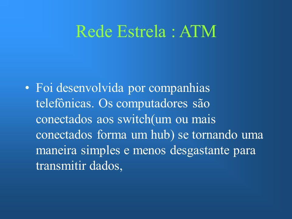 Rede Estrela : ATM Foi desenvolvida por companhias telefônicas. Os computadores são conectados aos switch(um ou mais conectados forma um hub) se torna