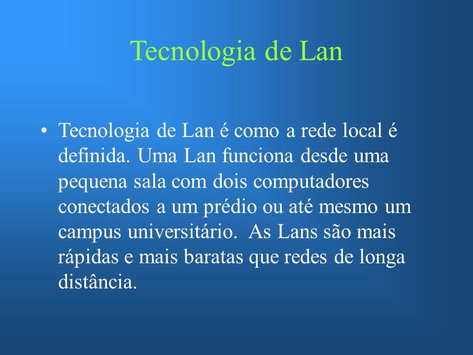 Tecnologia de Lan Tecnologia de Lan é como a rede local é definida. Uma Lan funciona desde uma pequena sala com dois computadores conectados a um préd