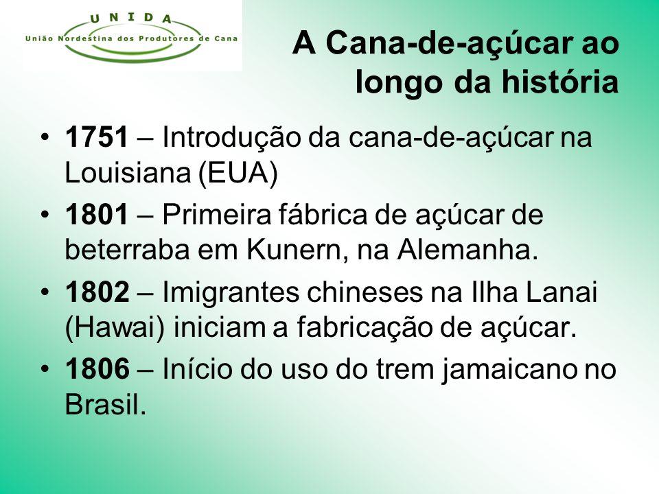 A Cana-de-açúcar ao longo da história 1751 – Introdução da cana-de-açúcar na Louisiana (EUA) 1801 – Primeira fábrica de açúcar de beterraba em Kunern, na Alemanha.