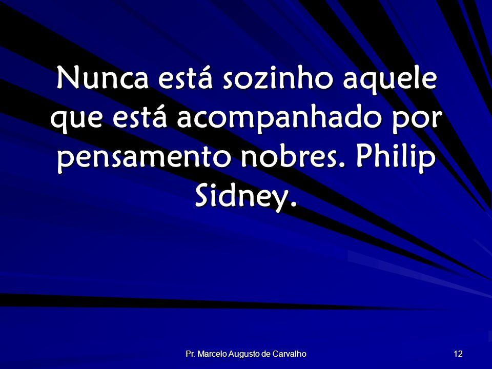 Pr. Marcelo Augusto de Carvalho 12 Nunca está sozinho aquele que está acompanhado por pensamento nobres. Philip Sidney.
