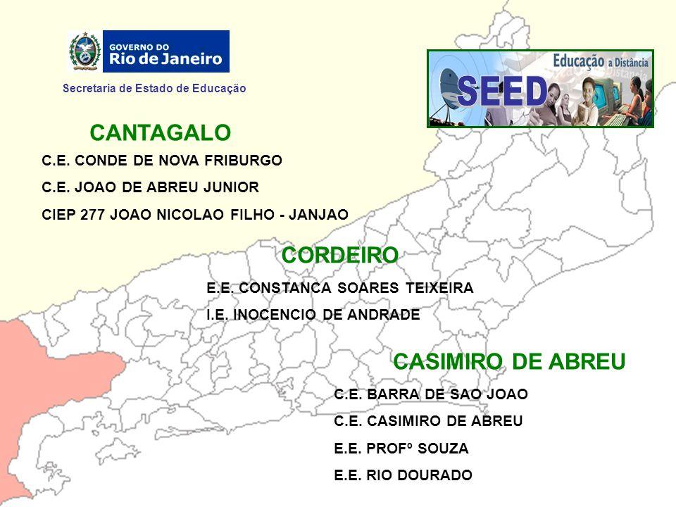 Secretaria de Estado de Educação CANTAGALO C.E. CONDE DE NOVA FRIBURGO C.E. JOAO DE ABREU JUNIOR CIEP 277 JOAO NICOLAO FILHO - JANJAO CORDEIRO E.E. CO