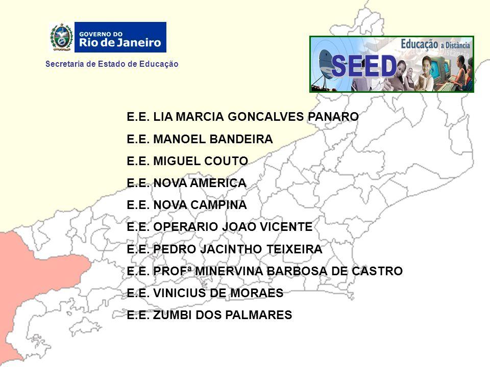 Secretaria de Estado de Educação E.E. LIA MARCIA GONCALVES PANARO E.E. MANOEL BANDEIRA E.E. MIGUEL COUTO E.E. NOVA AMERICA E.E. NOVA CAMPINA E.E. OPER