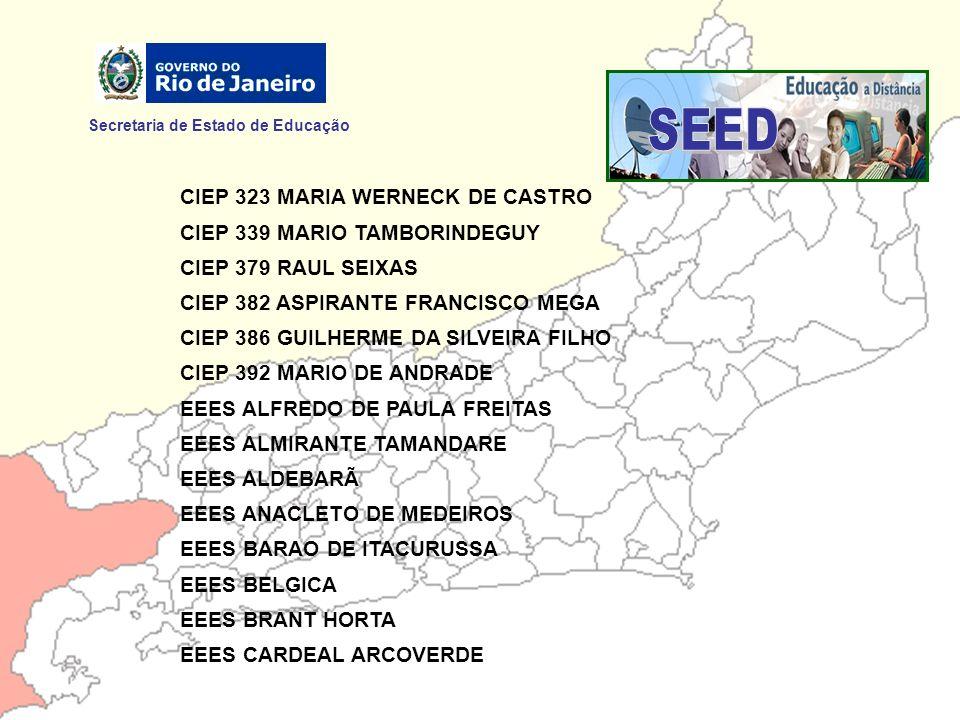 Secretaria de Estado de Educação CIEP 323 MARIA WERNECK DE CASTRO CIEP 339 MARIO TAMBORINDEGUY CIEP 379 RAUL SEIXAS CIEP 382 ASPIRANTE FRANCISCO MEGA