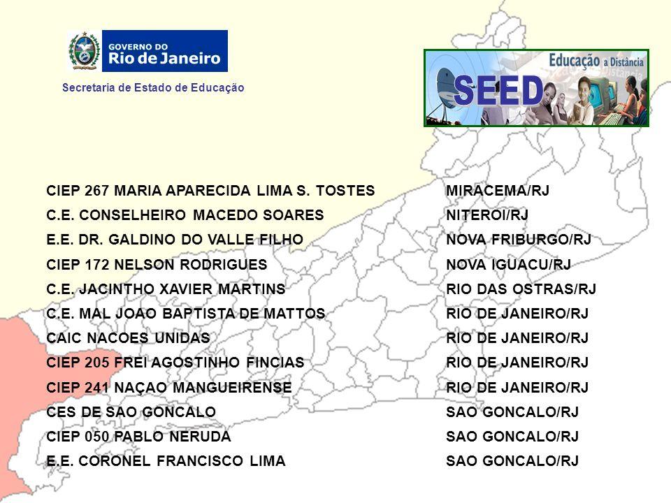Secretaria de Estado de Educação CIEP 267 MARIA APARECIDA LIMA S. TOSTESMIRACEMA/RJ C.E. CONSELHEIRO MACEDO SOARESNITEROI/RJ E.E. DR. GALDINO DO VALLE